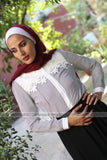 Striped Black and White Blouse - with Floral Lace - E-Modesta