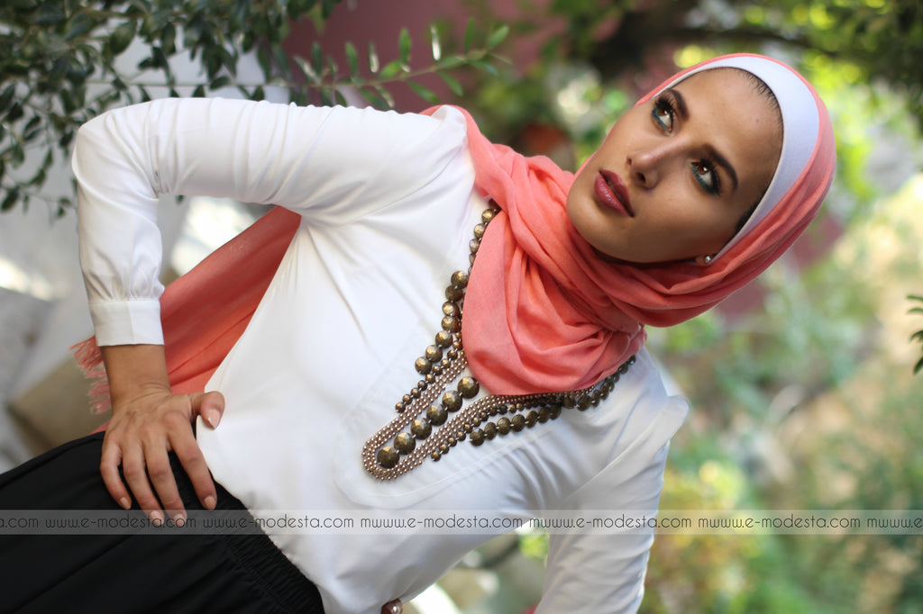Chiffon Formal Blouse with Bronze Beads - E-Modesta