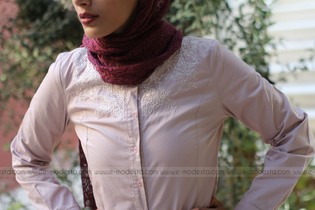 Formal Elegant Shirt with Small Shoulder Embroidery - E-Modesta