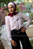 Long-Sleeved  Shirt with Bow Tie - E-Modesta