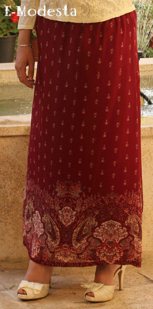 Elegant floor-length printed skirt