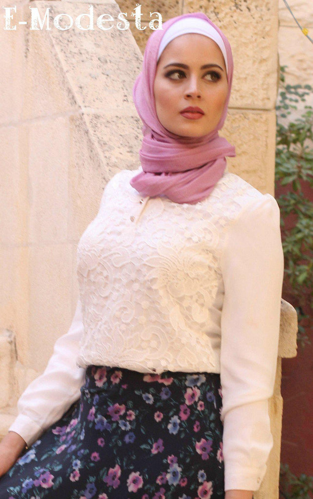 Lace White Blouse with Beaded V-Neck - E-Modesta