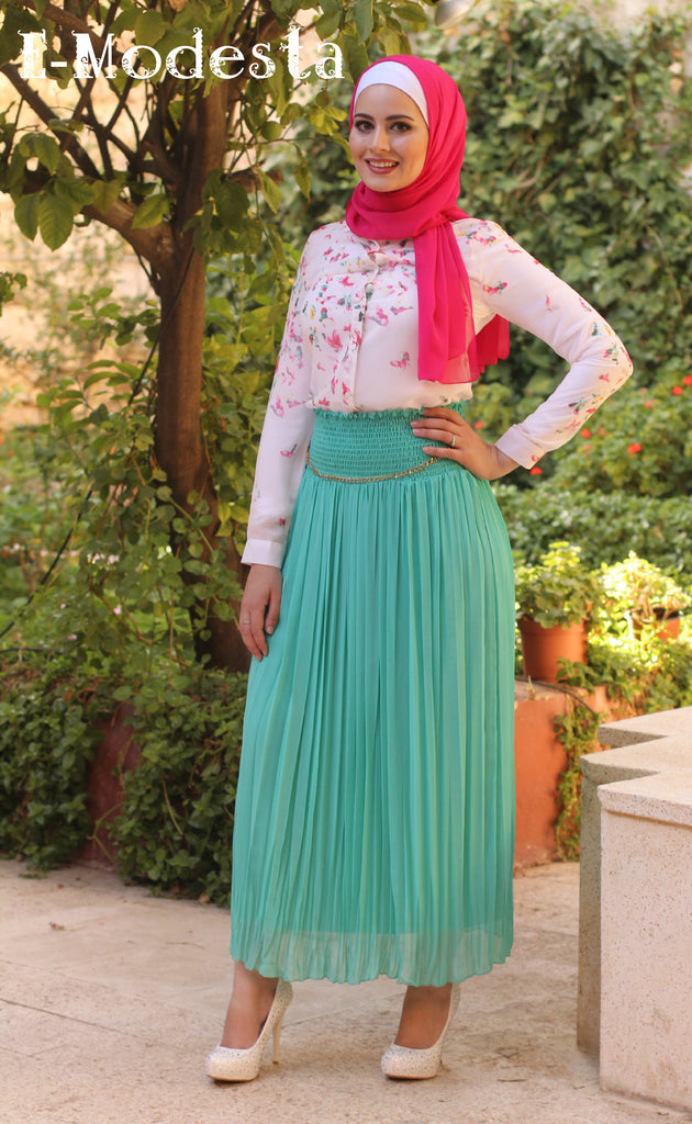 Green Pleated Skirt - E-Modesta