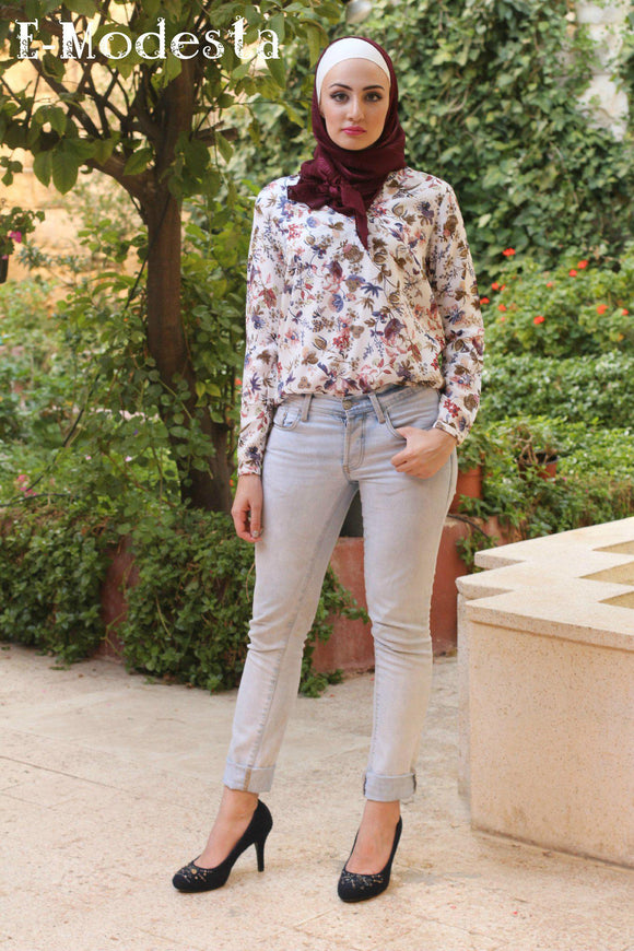 Multicolored floral print blouse