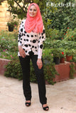 Casual Polka Dot long Shirt - Black & White - E-Modesta