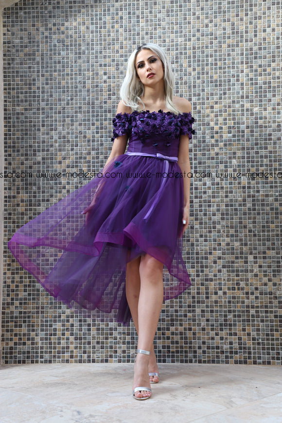 Purple Off-Shoulder Tulle Evening and Party Dress