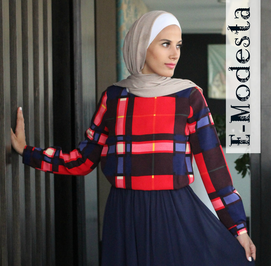 Red and Dark Blue Blouse - E-Modesta