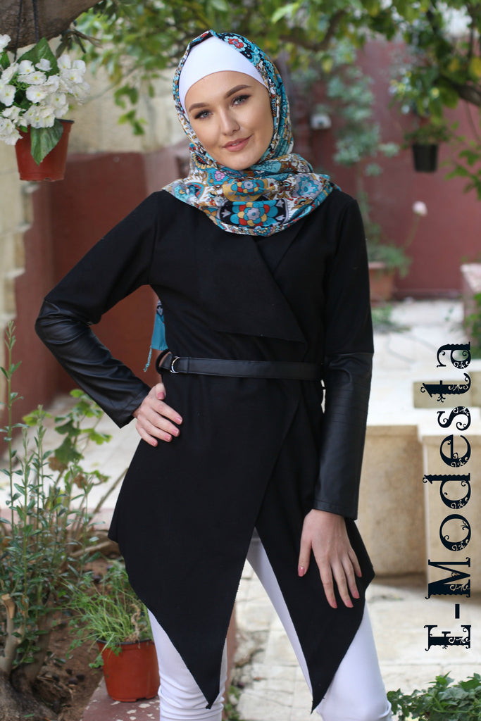 Irregular Woolen Cardigan with Leather on Sleeves - E-Modesta