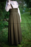 SALE High Waist Skirt | with Removable Shoulder Belt | Color Green - E-Modesta
