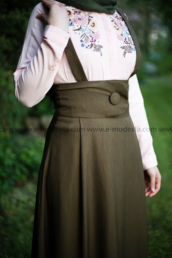 SALE Summer Peach Shirt | Flowers Embroidery | Dark Green