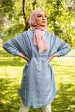Denim-like Light Blue Summer Shirt Tunic - E-Modesta