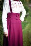 SALE High Waist Skirt | with Removable Shoulder Belt | Color Burgundy - E-Modesta