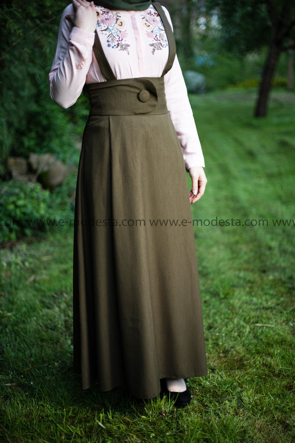 SALE High Waist Skirt | with Removable Shoulder Belt | Color Green