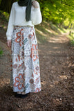 Maxi Floral Skirt | Green & Orange | Lined from Inside