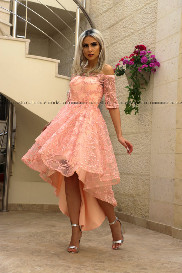 Off Shoulder Lovely Pink High Low Cut Prom Dress