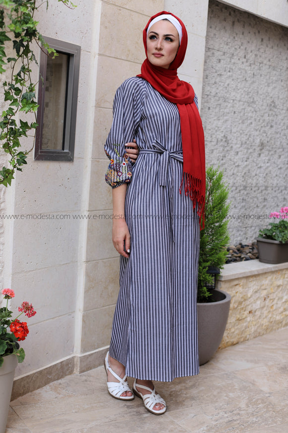 Striped Casual Dress with Embroidery Sleeves