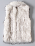 SALE | Long Luxury Faux Fox Vest | WHITE