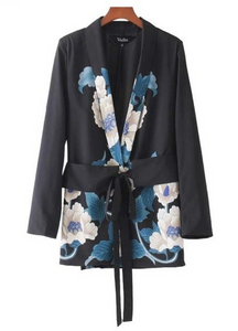 SALE | Mid-length Blazer with Vintage Blue Floral Print