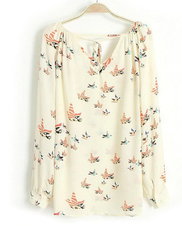 Chiffon Floral and Birds Blouse
