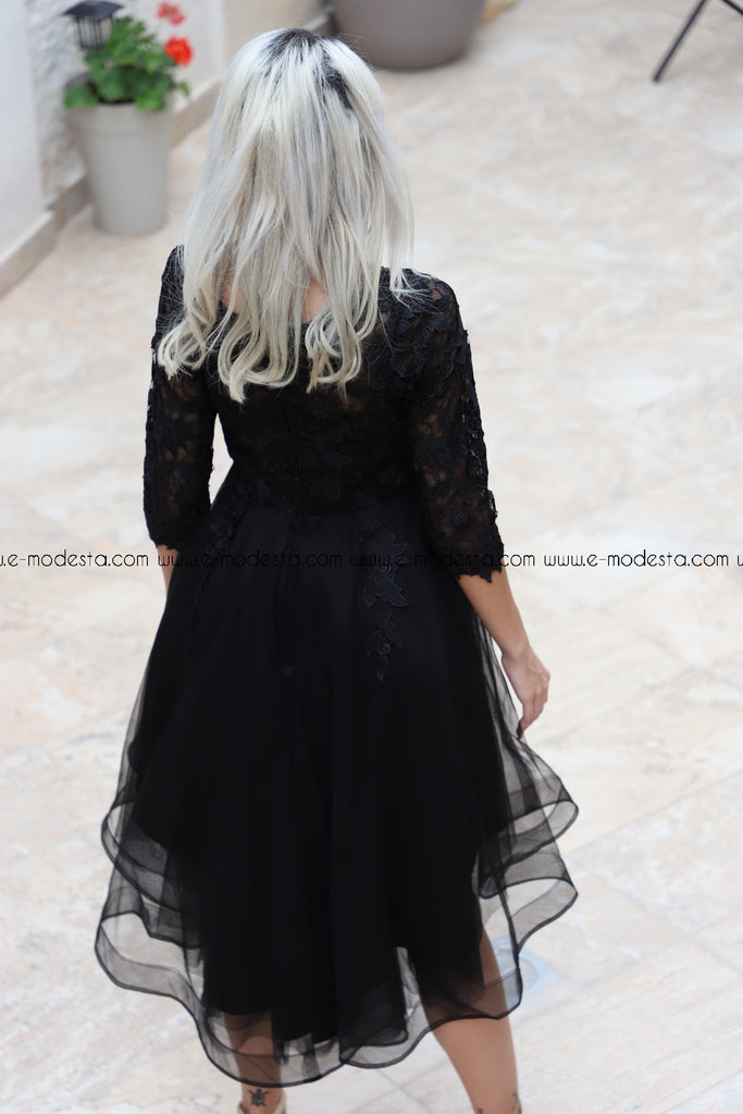 Long Sleeve Elegant Black Lace High Low Evening Dresses - E-Modesta