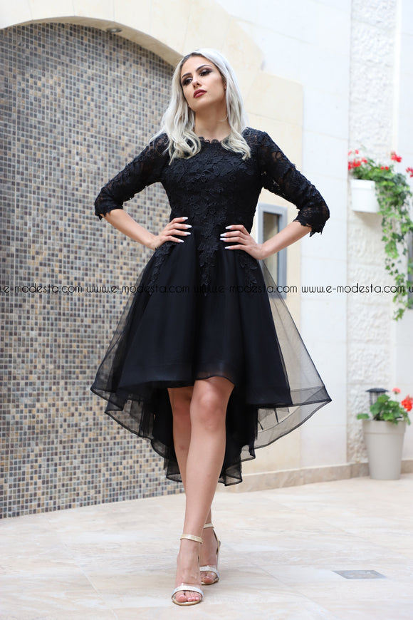 Long Sleeve Elegant Black Lace High Low Evening Dresses