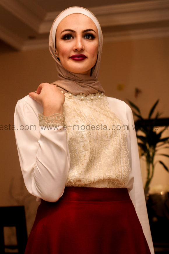 Formal White Blouse with Golden Lace Decoration