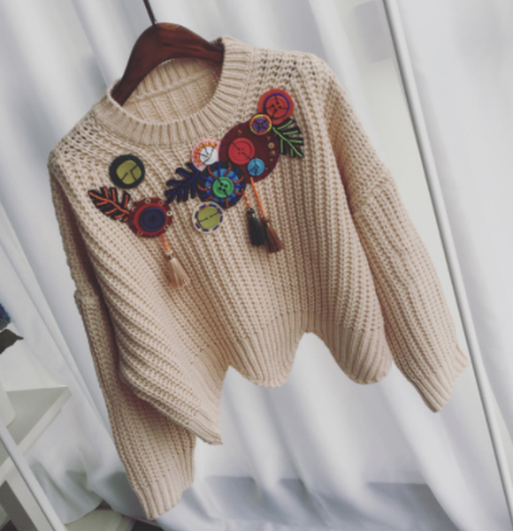 Thick Wool Loose-style Pullover with Embroidery Tassel Lotus Leaf
