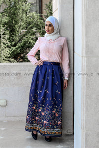 Elegant floor length dark blue skirt