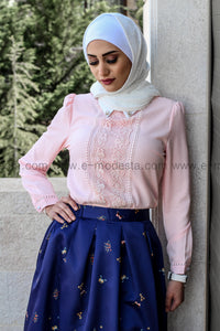 Chiffon Blouse with Patchwork Lace