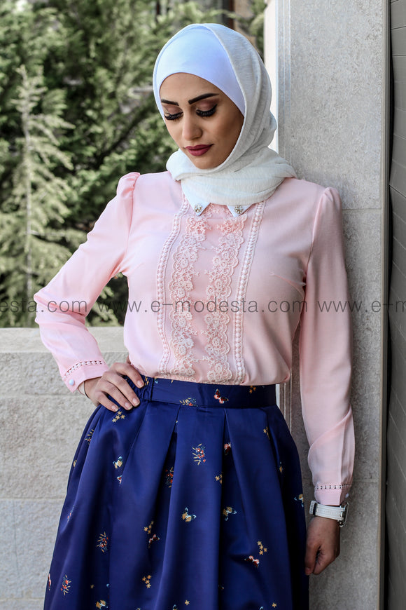 Pink Chiffon Blouse with Patchwork Lace