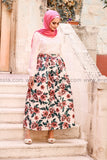 Pink floral print high quality elegant floor length skirt