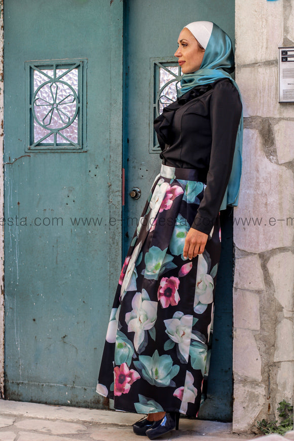 Aqua floral print high quality elegant floor length skirt