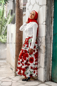 Red roses print high quality elegant floor length skirt