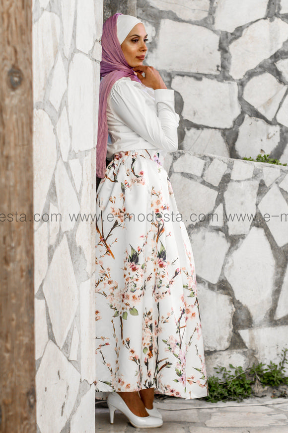 Pleated floral print high quality elegant floor length skirt - Off-white