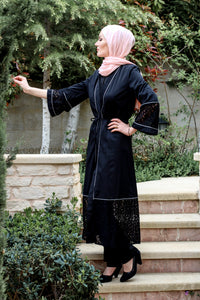Black Abaya with Hollow-out Lace