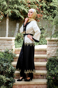 Golden Embroidery Black and White Abaya