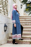 Blue & Pink Abaya with White Lace
