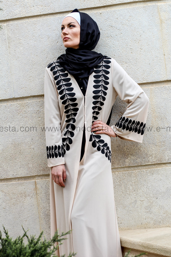 Beige Abaya with Black Decoration - E-Modesta