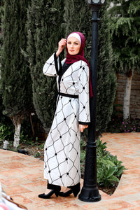 White Abaya with Black Sashes