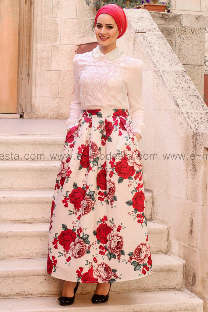 Pleated floral print high quality elegant floor length skirt - Red roses - E-Modesta