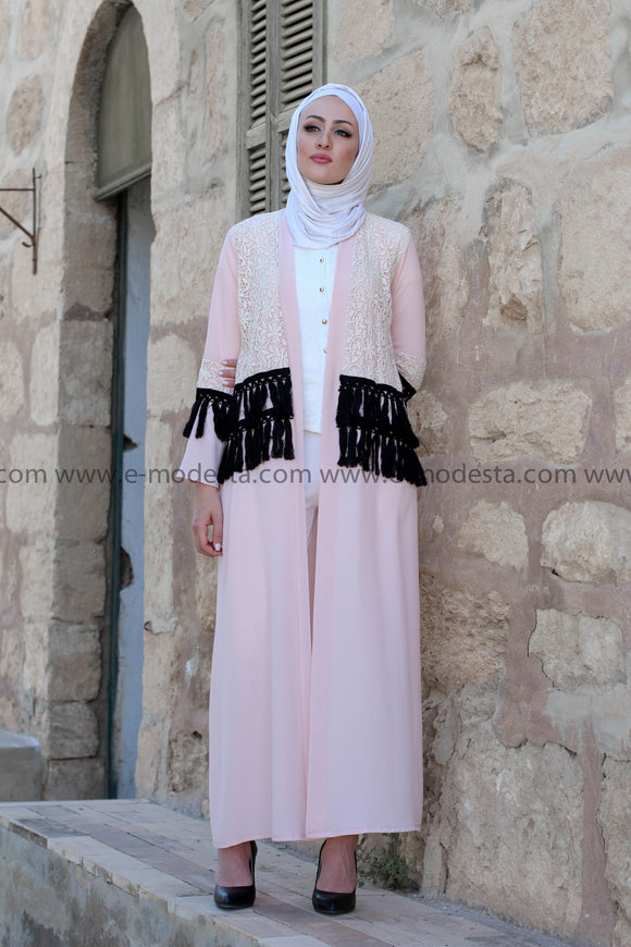 Pink Abaya with Lace