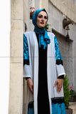 SALE Blue and White Modern Abaya - E-Modesta