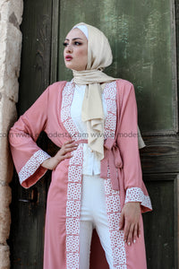 Pastel Colors Long Abaya/Cardigan with White Lace