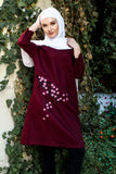 Loose feminine tunic - cherry flowers - E-Modesta