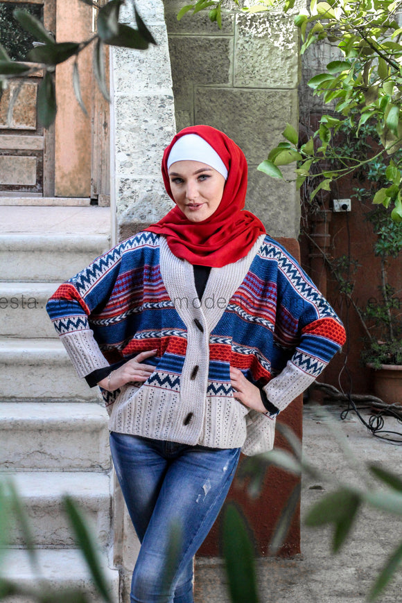 Wool Knitted Batwing Sleeve Cardigan