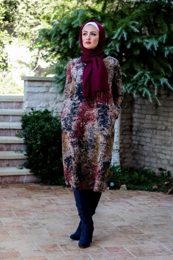 Vintage Long Tunic with Autumn Leaves Print - Red Colors - E-Modesta