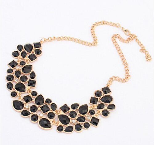 Geometric Fashion Statement Metal Chain Necklace Pendant Collar - E-Modesta