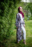 Print Floral Long Cardigan | Abaya | Black Color