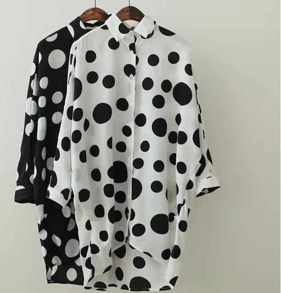 Casual Polka Dot long Shirt - Black & White