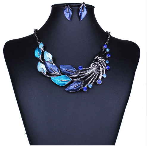 Retro colored rhinestone elegant leaves necklace and earrings - E-Modesta